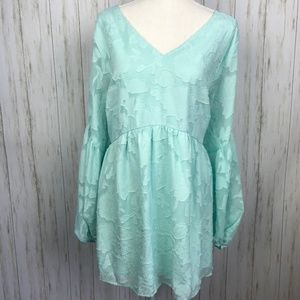Lane Bryant NWT Teal Floral Textured Blouse 18/20